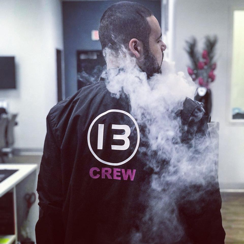 Davis is one of our amazing employees. Here he is rocking his 13 Crew bomber jacket.