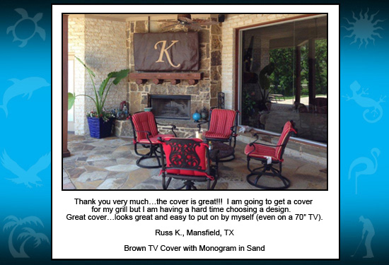Brown Custom Cool TV Cover with Monogram K in Sand