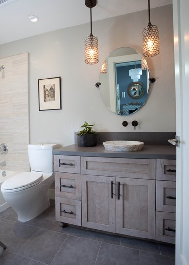 Part of a full house remodel with an addition, this guest bathroom was completely remodeled with a classic feel.