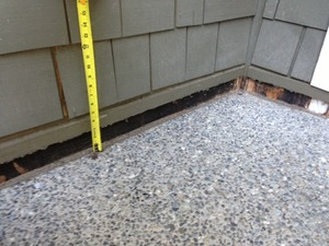 sinking concrete slab due to soil erosion underneath/BEFORE