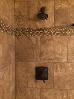 Shower with mosiac tile border insert
