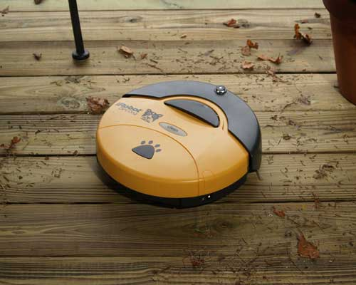 The iRobot Dirt Dog® Shop Sweeping Robot cleans the garage, workshop, basement or patio by sweeping up nuts, bolts, woodchips, dirt and other debris.