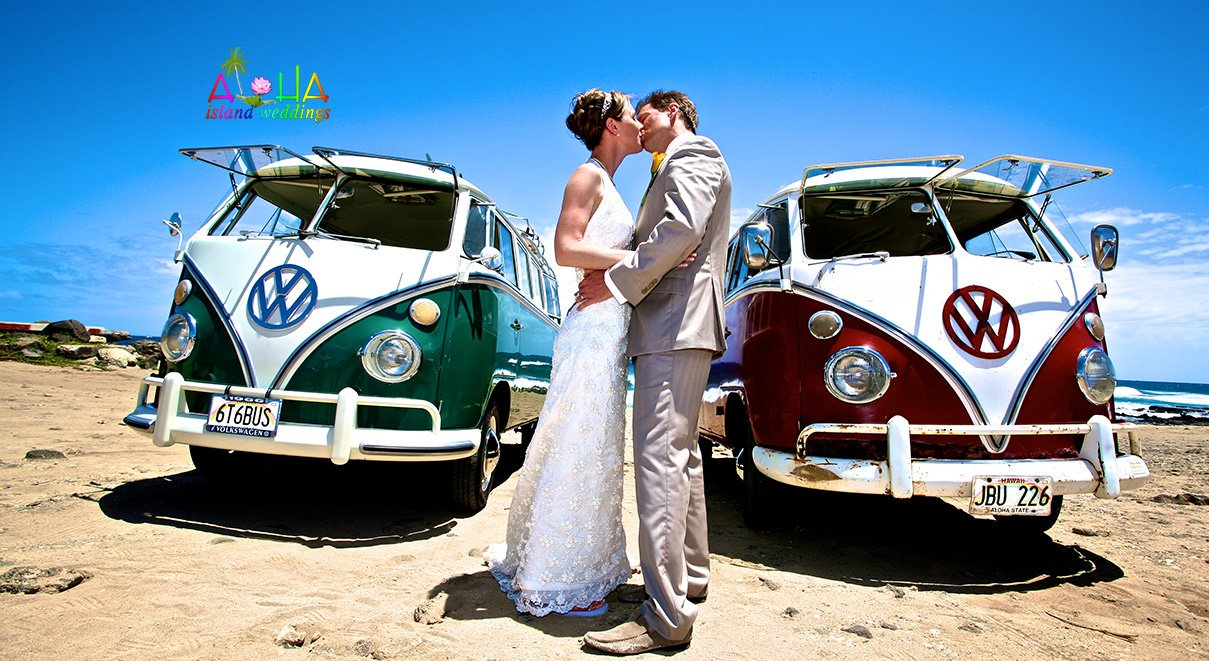 Many couples choose a limo but our beach wedding couple had love for the old VW vans known as a combi